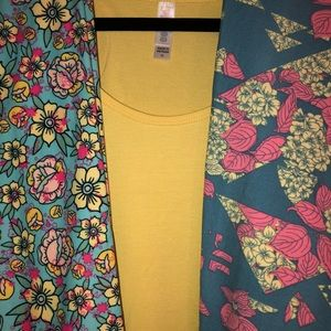 XL yellow perfect t with 2 pair TC leggings